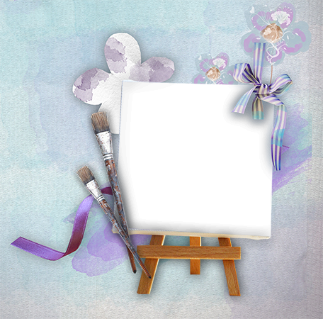 Photo frame - Canvas with the purple brushes