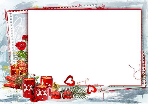 Photo frame - Christmas frame with hearts and candles