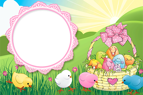 Photo frame - Cute Easter chicks and funny Easter eggs