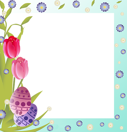 Фоторамка - Easter frame border with bright flowers