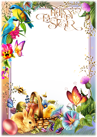 Marco de fotos - Easter photo frame with spring flowers, a rabbit and a basket