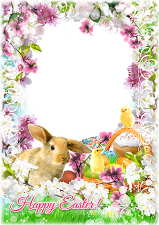 Foto rāmji - Easter rabbit in bright flowers