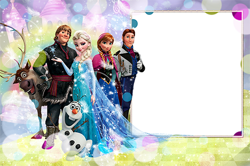 Photo frame - Frozen. Elsa, Anna, Kristoff, Olaf, Sven and Ganz
