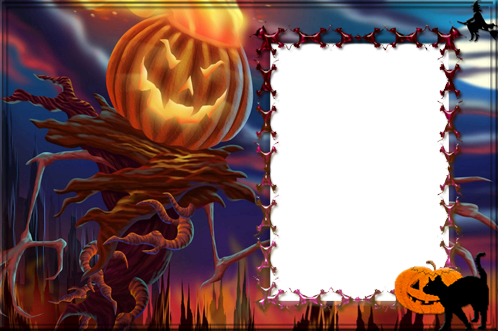 Photo frame - Halloween evil pumpkin