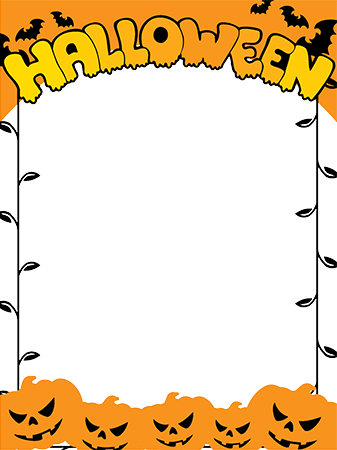 Marco de fotos - Halloween border with angry pumpkins