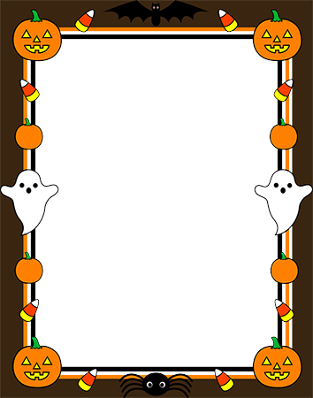 Фоторамка - Halloween border with ghosts and pumpkins