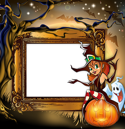Marco de fotos - Halloween frame with a witch sitting on a pumpkin