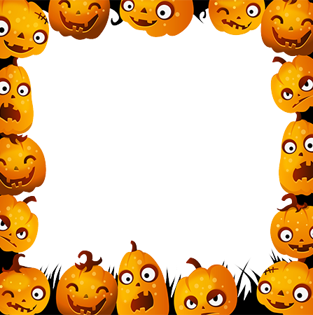 Marco de fotos - Halloween frame with emotional pumpkins