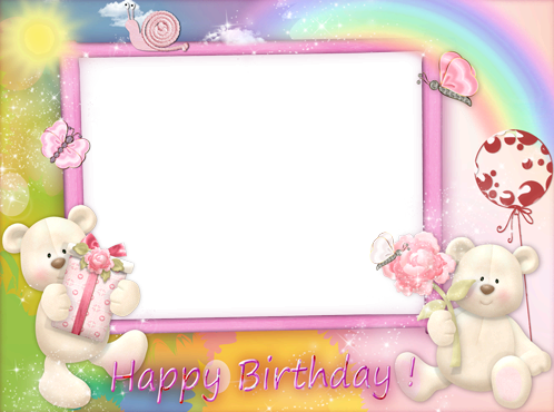 Photo frame - Happy Birthday with pink teddy bears