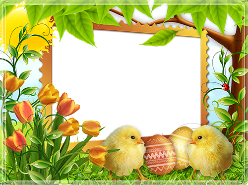 Photo frame - Happy Easter with cute chicks