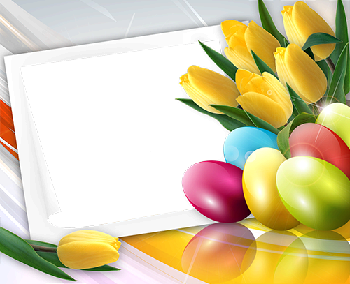 Photo frame - Happy Easter with spring tulips