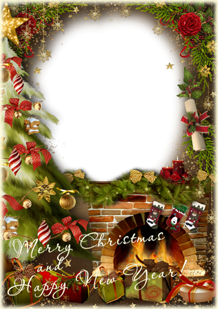 Photo frame - Holiday by the fireplace
