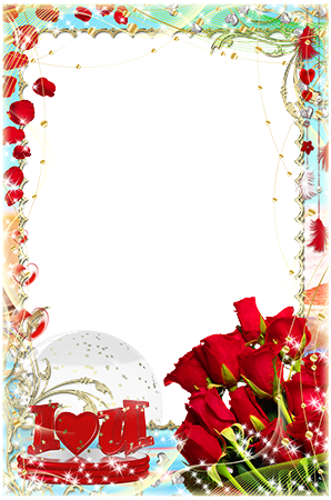 Photo frame - I love you. Bouquet of red roses