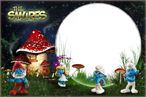 Photo frame - In the Smurf's village
