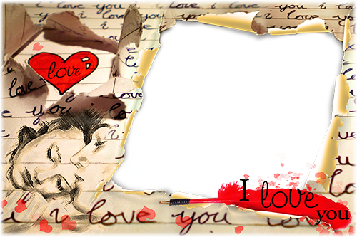 Marco de fotos - Letter with words of love