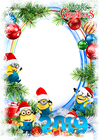 Photo frame - Merry Christmas 2019. Festive minions