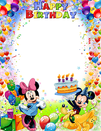 Marco de fotos - Mickey and Minnie Mouse wish you a Happy Birthday