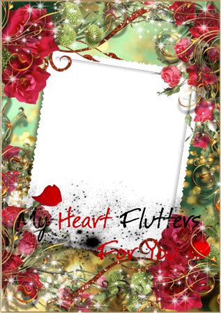 Photo frame - My heart flutters for you...