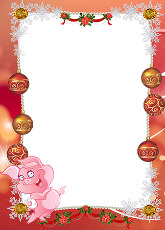 Foto rāmji - New Year frame border. Smiling piglet