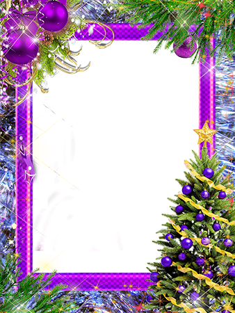 Cadre photo - New Year tree with violet decorations
