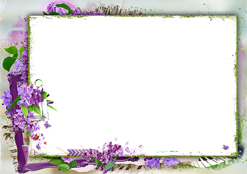 Marco de fotos - Photo frame surrounded with lilac flowers