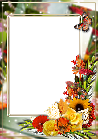 Marco de fotos - Photo frame with bright bunch of flowers