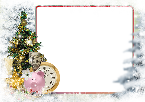 Photo frame - Piggy bank under the New Year tree