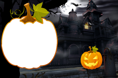 Photo frame - Huge fearful pumpkin