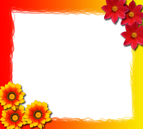 Photo frame - Red and yellow flowers