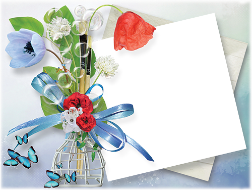 Photo frame - Red and blue poppy flowers