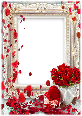 Marco de fotos - Red hearts and red roses