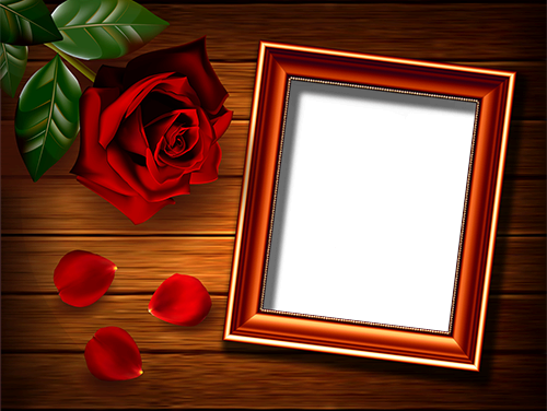 Photo frame - Rose on the table