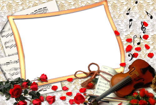 Photo frame - Roses and violin