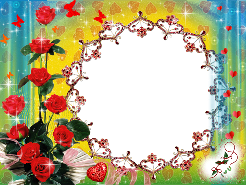Photo frame - Roses and butterflies