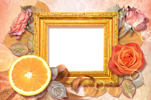 Photo frame - Roses and orange