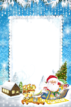 Photo frame - Santa Claus hurries to holiday