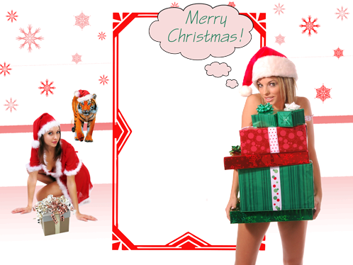Photo frame - Santa girls