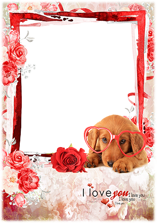 Фоторамка - Say love you with a photo frame with a cute dog