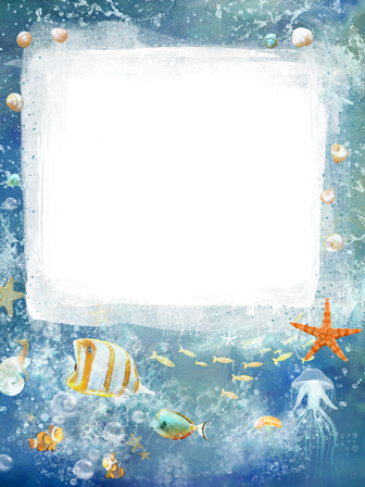 Photo frame - Sea frame with colorful exotic fish