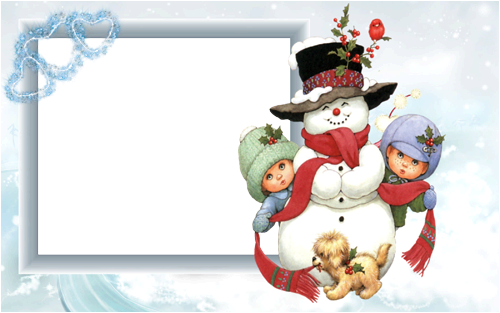 Photo frame - Snowman with kids