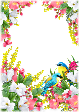Photo frame - Spring birds inside of colorful flowers