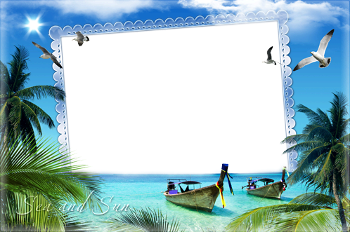 photo frames summer vacation in tropics