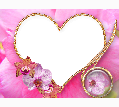 Photo frame - Valentine's day. Pink flowers heart