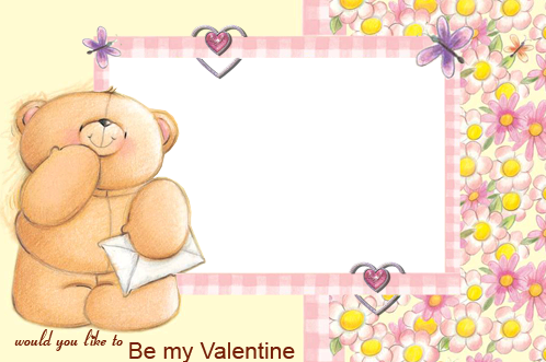 Photo frame - Valentine's day. Teddy bear