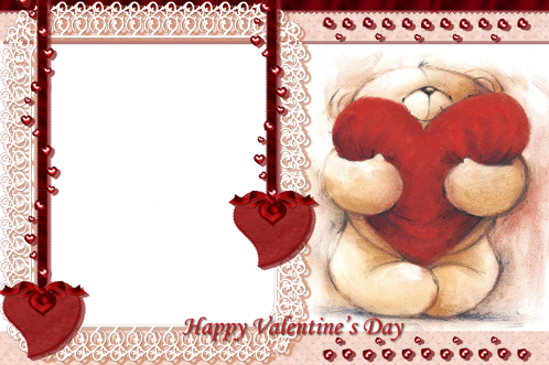 Photo frame - Valentine's day. Teddy bear red heart