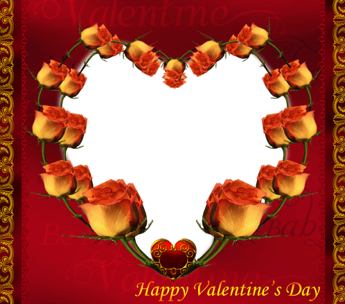 Photo frame - Valentine's day. Wreath of roses
