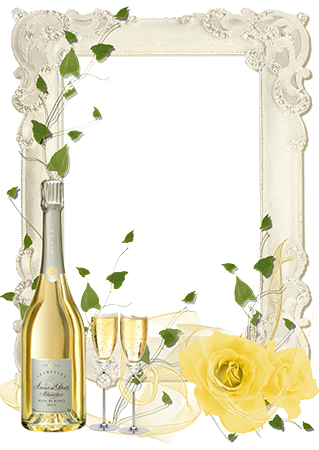 Photo frame - Wedding champagne and delicate roses