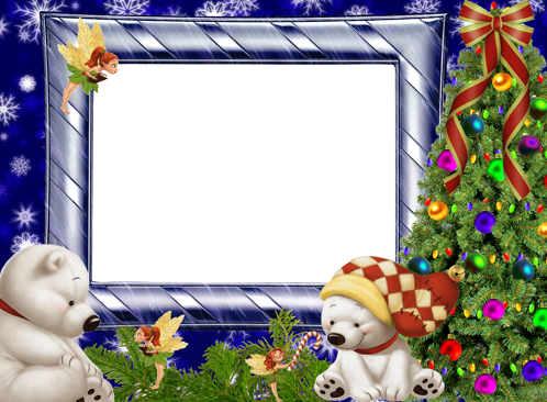 Photo frame - White Teddy bears